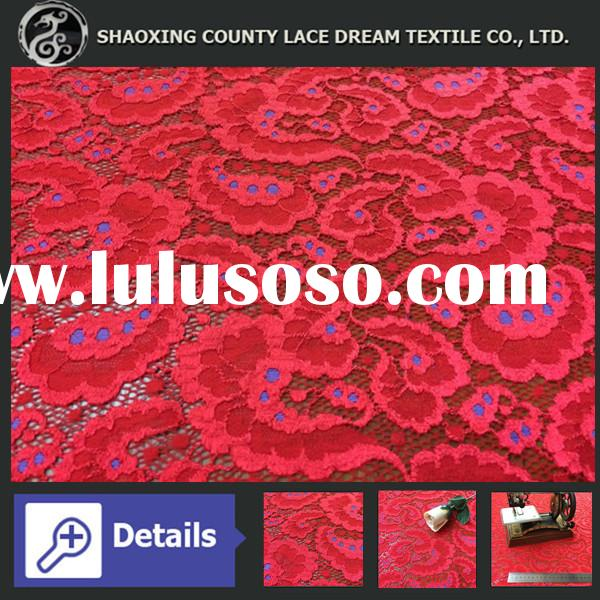 Popular Doulbe Colors Warm Design African Jacquard Elastic Lace Fabric for New York Fahion Show