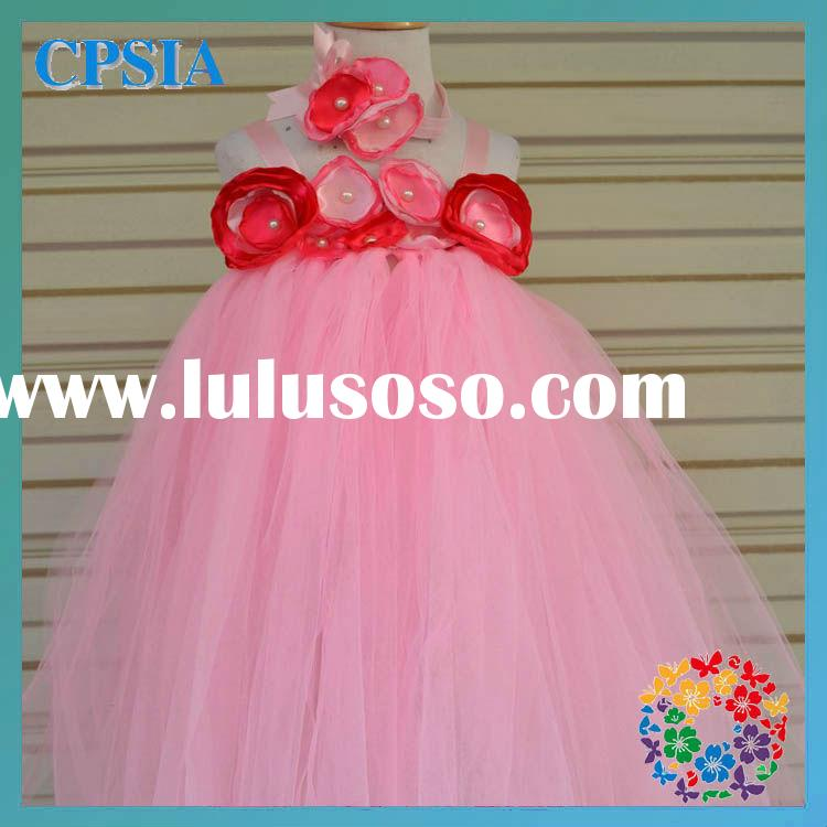 cheap pink flower wedding dresses for little girl long tutu dress summer baby party dress
