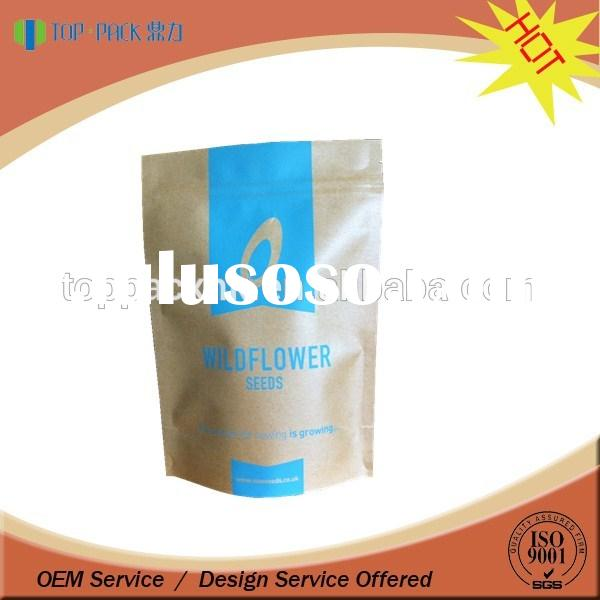 custom printed food grade material bag pouch retail kraft paper bag / Kraft paper stand up packaging