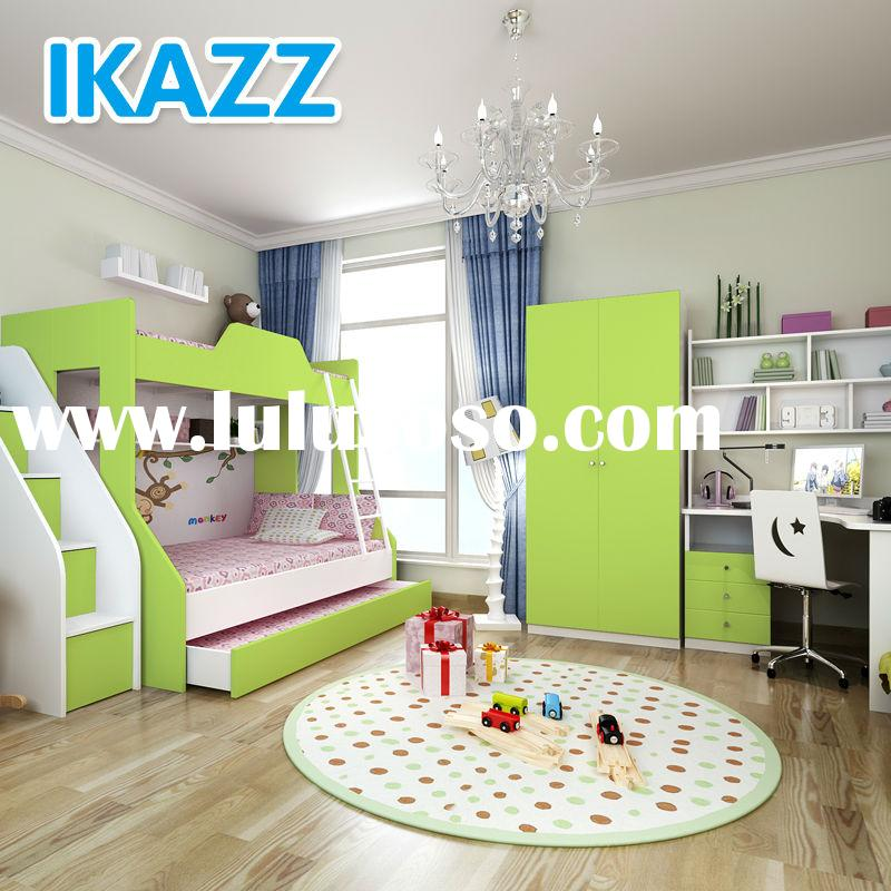 ikazz mdf melamine green kids bedroom furniture for boys on sale