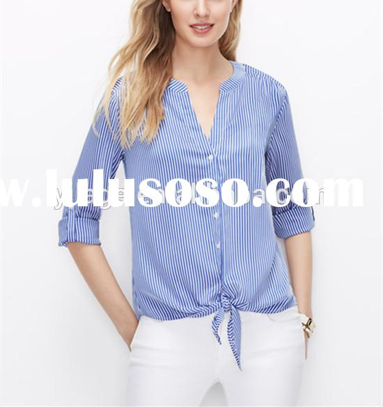 lady blouse and tops casual 2015 top fashion polyester models chiffon blouse QB006