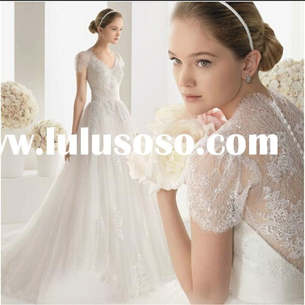 2015 Wedding Dress China A Line V Neck Applique Lace Long Tail Princess Wedding Gown