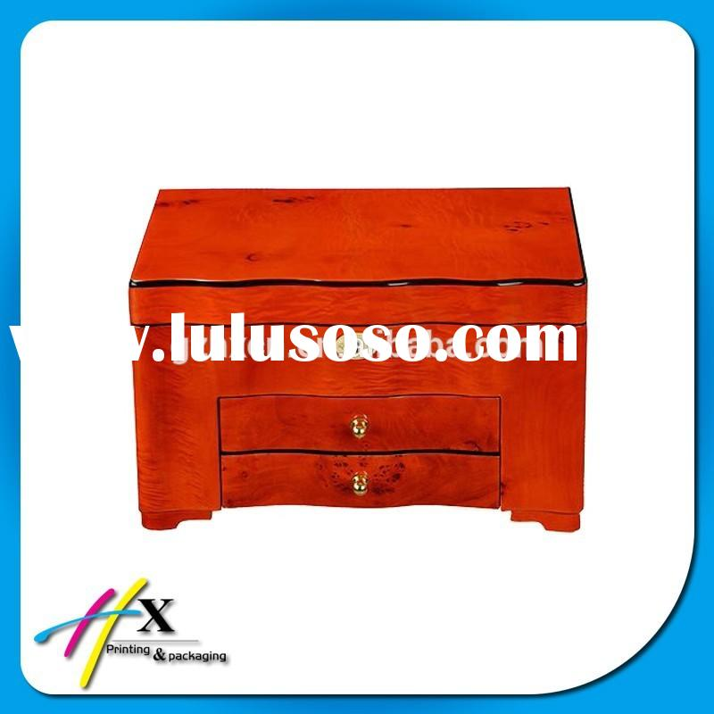 Custom Large Wooden Jewelry Box Storage Packing Boxes with Two Drawers