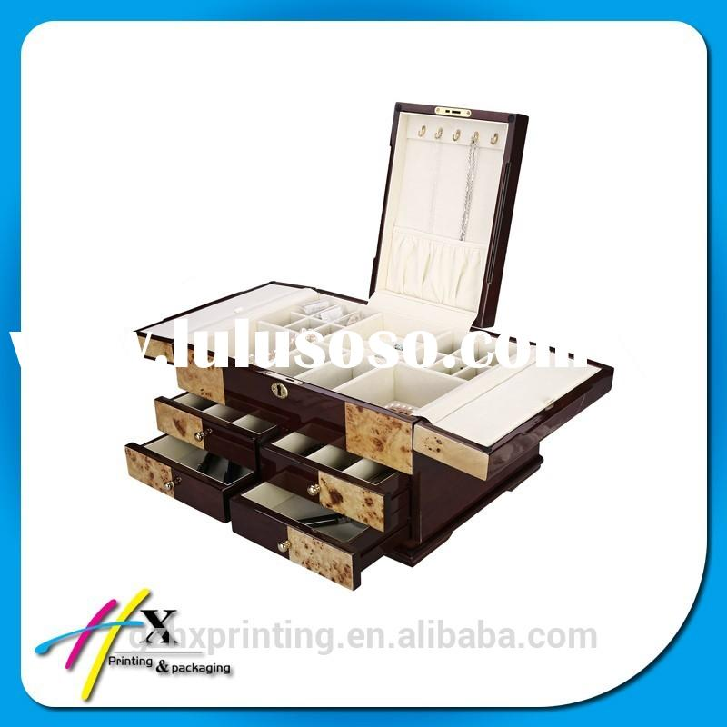 Custom New Luxury Wooden Jewelery Box& Wood Storage Boxes with Pull-out Drawer
