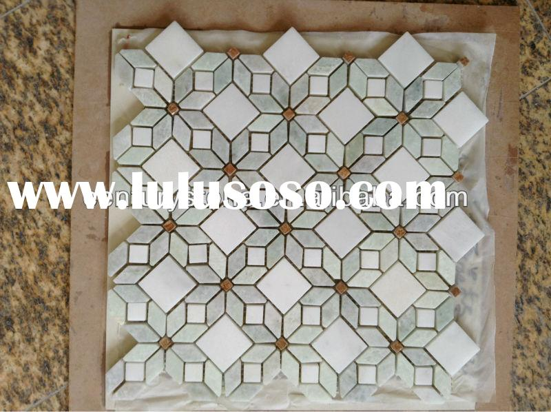 Flower Greece Thassos White Marble Mixed Ming Green marble mosaic tile