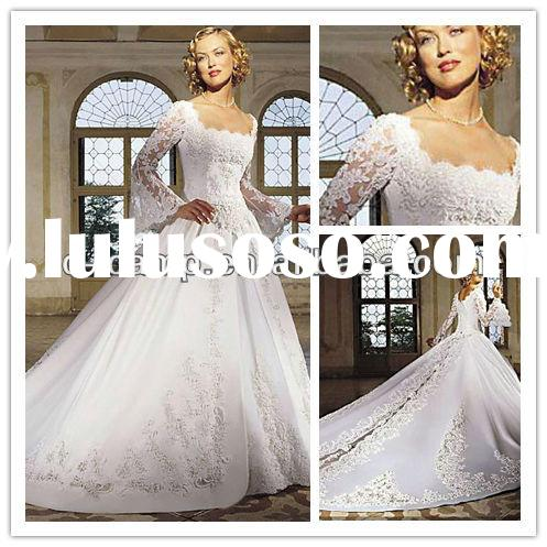 WD-0148 Elelgant long sleeve princess wedding gowns lace wedding gowns with sheer sleeves