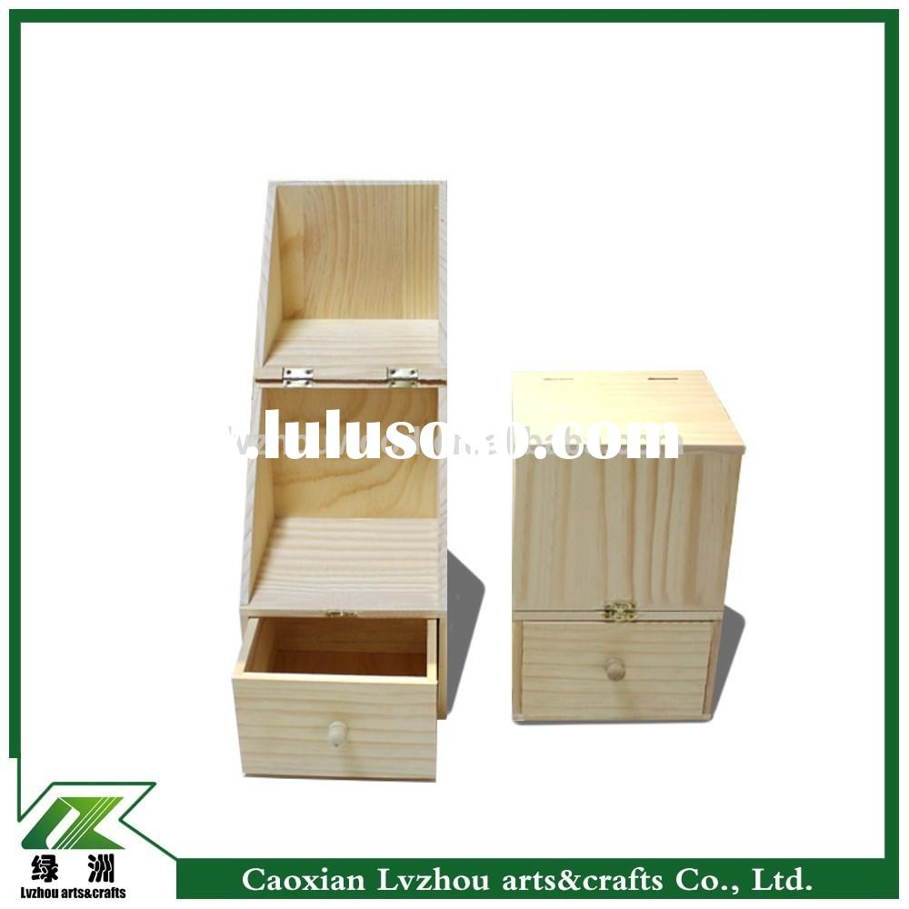 unfinished design wood smooth decoration storage boxes with drawer and lid collect jewelry or make u
