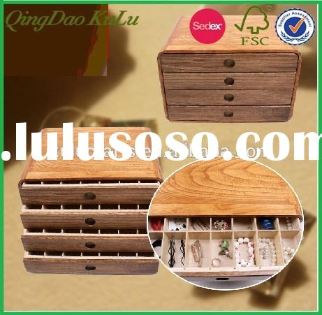 wooden jewelry storage boxes with drawer, eco-friendly trinket storage box with divider