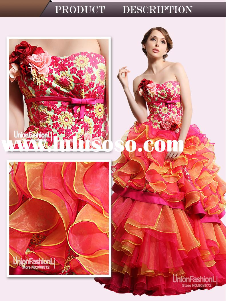 2014 Excellent Warmhearted Lace Ball Gown pleated ruffles layered alibaba wedding dress red