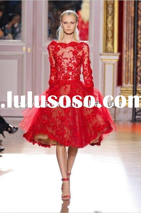 2014 Latest Gown Design Red Formal Party Dresses Long Sleeve Lace Evening Gown