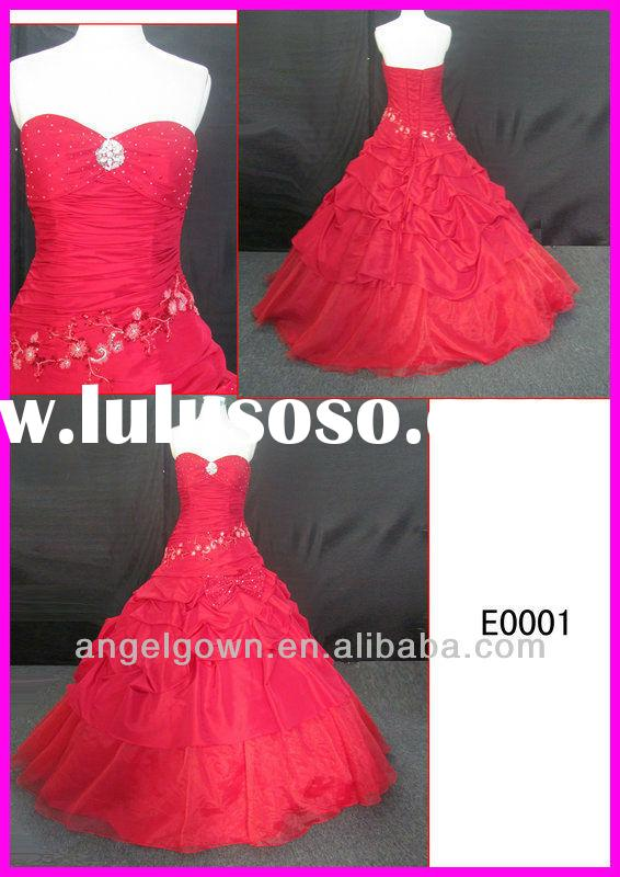 2014 guangzhou strapless taffeta red beading motif ball wedding gowns/bridal dress lace up back E000