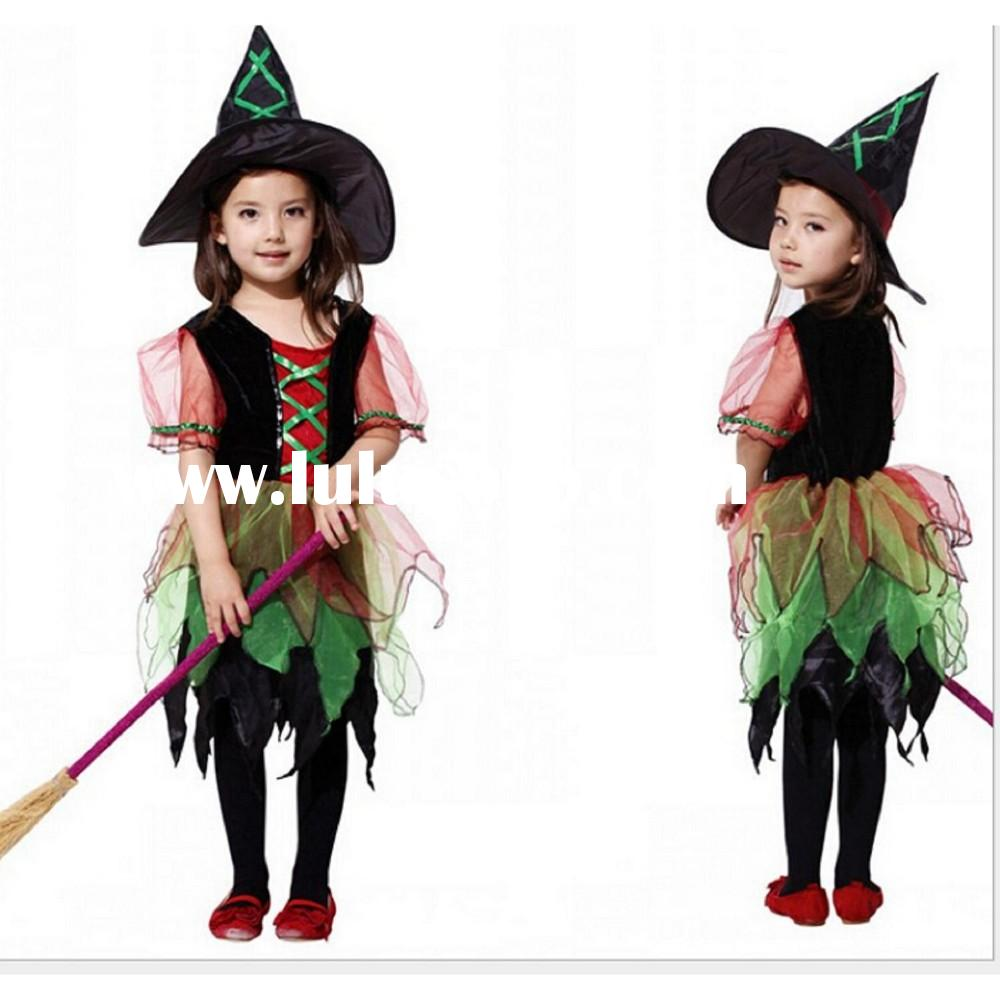 2015 New design girls frock witch dress for Halloween party, girls fancy dress for halloween