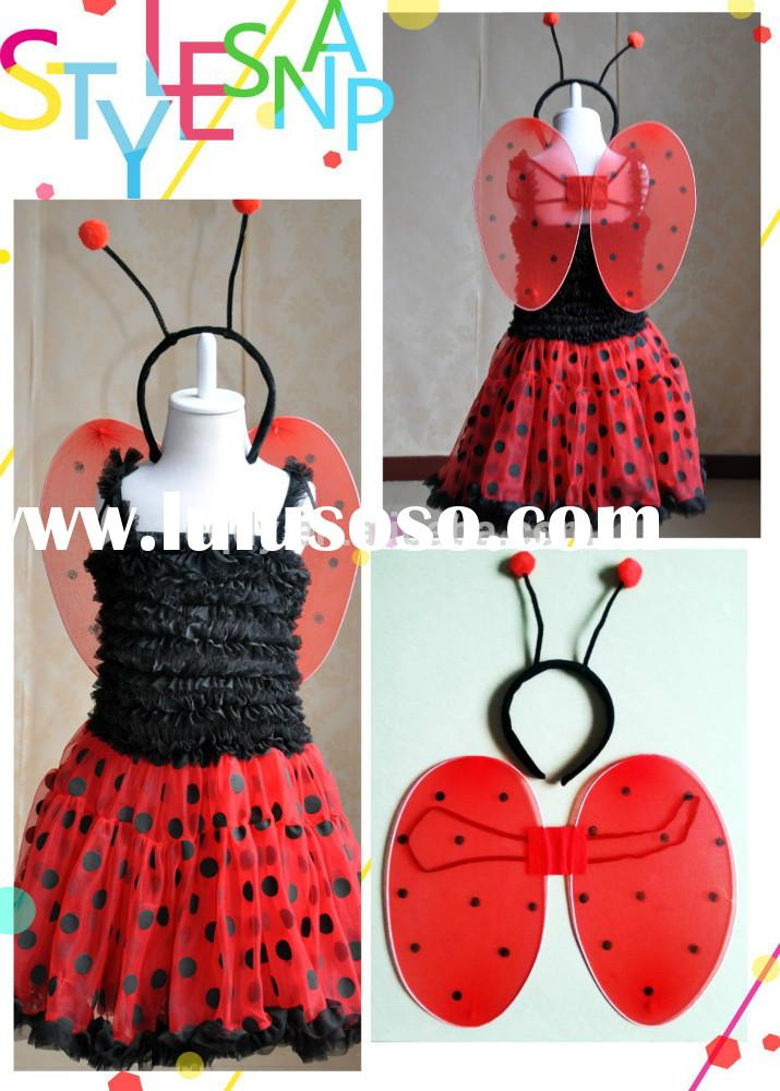 2015 baby girls party dress with ladybug wing,girl's lovely costume dress for party show, pa