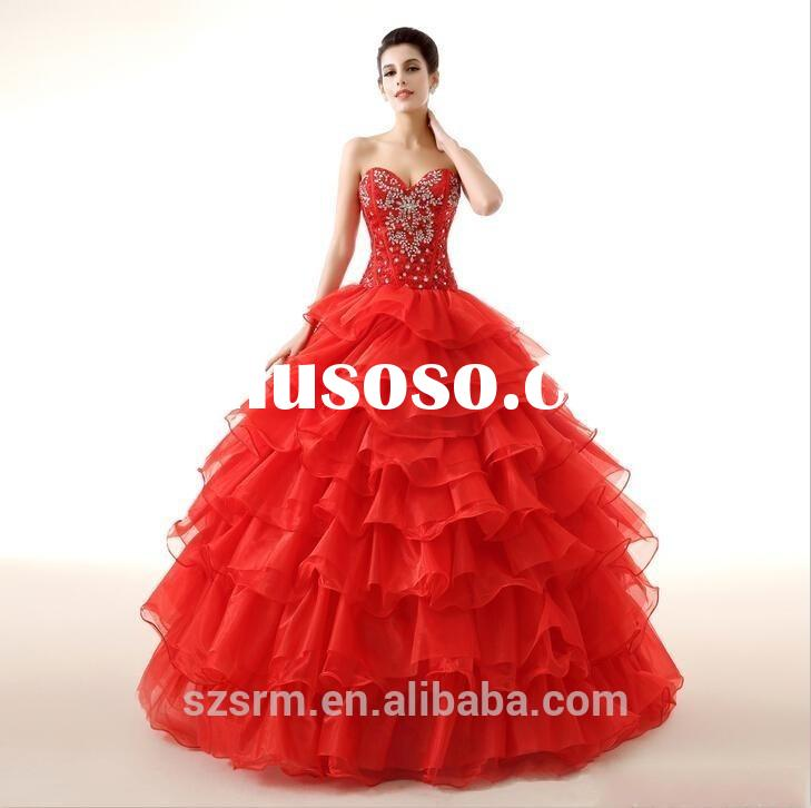 2015 vintage red ball gowns tiered evening dress sweetheart lace up back sleeveless party gowns with