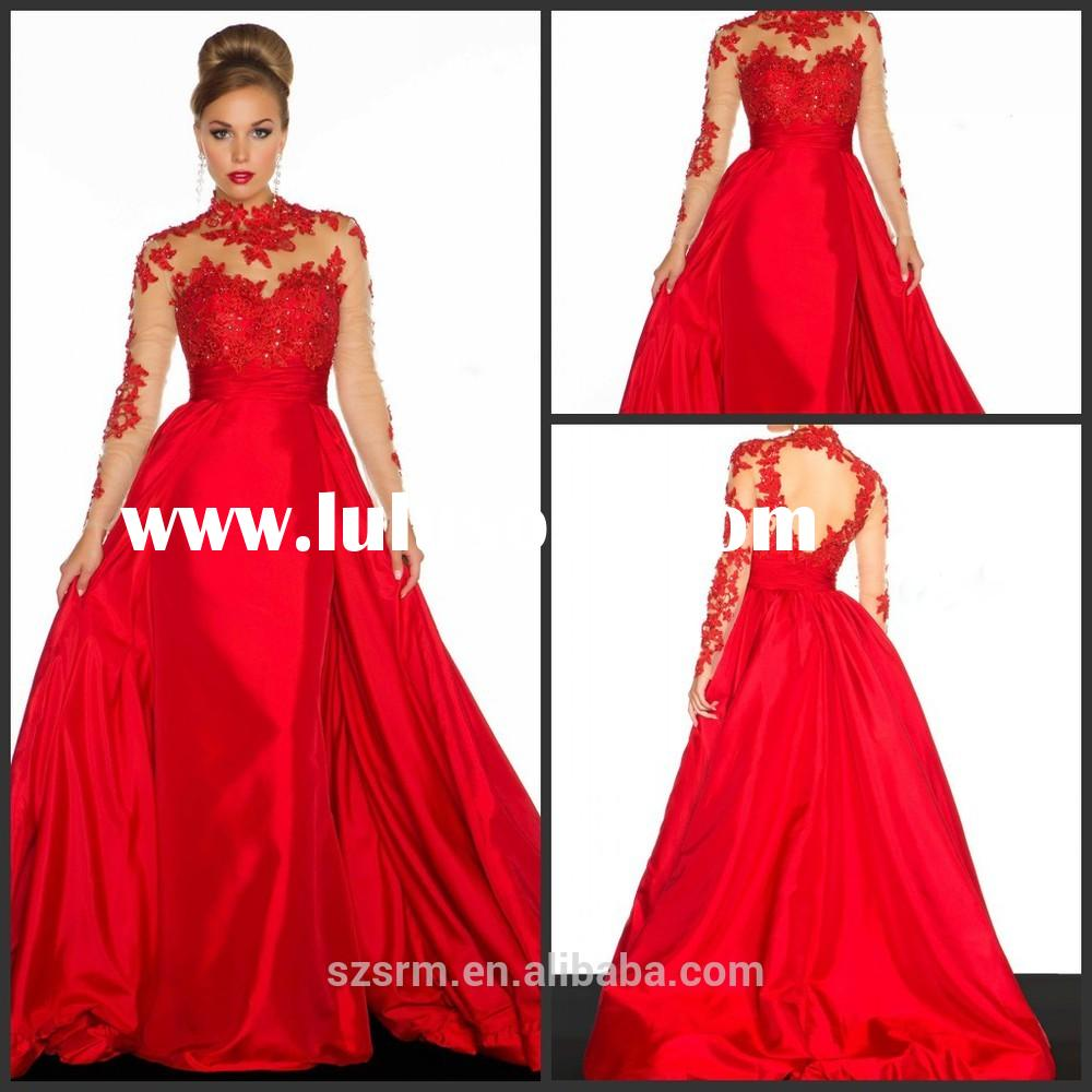 2015 New Design Appliques Ball Gown High Neck Taffeta Red Floor-Length Long Sleeves Evening Dresses