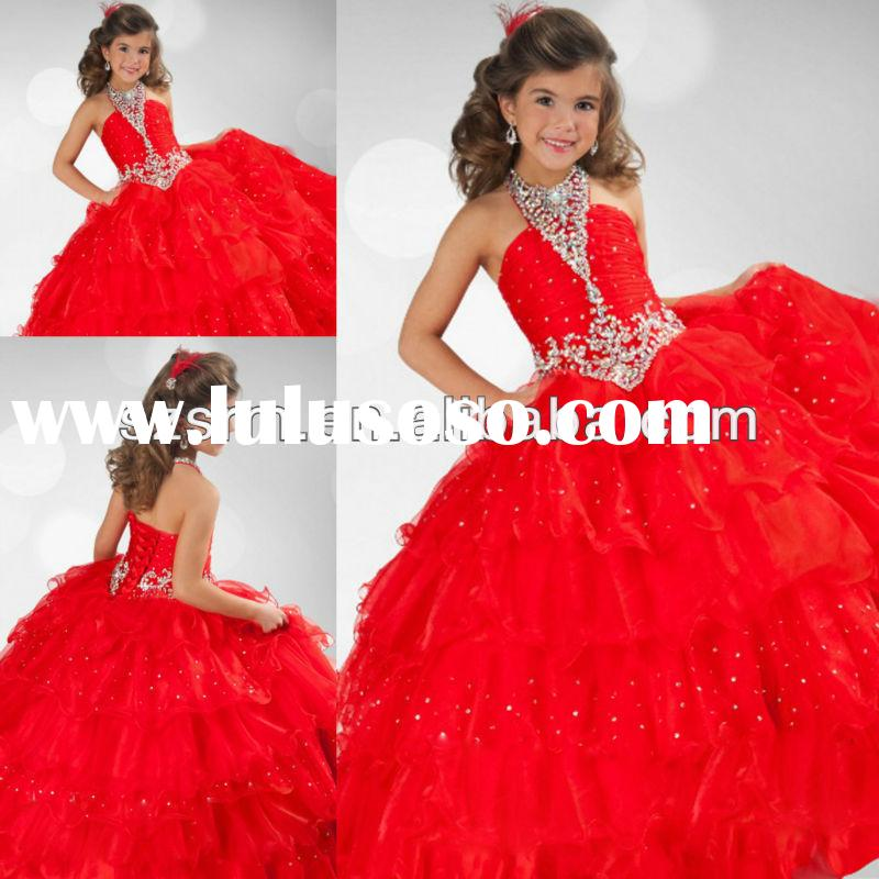 Free shipping long red ball gown halter lace up closure floor length flower girl's pageant d