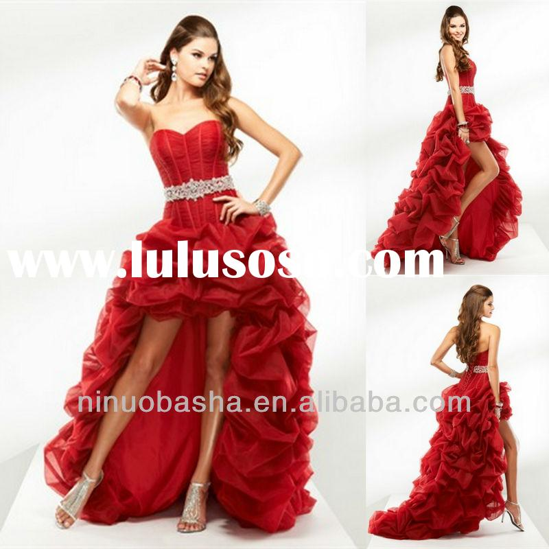 Hot Red Ruffle Crystal Band Ball Gown Front Low And Long Back Sweetheart Prom Dress Evening Gown