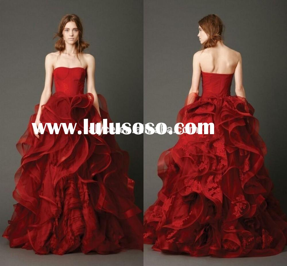 Latest Design Sweetheart Dark Red Tulle Lace Appliques Floor Length Ball Gown 2014 Wedding Dress