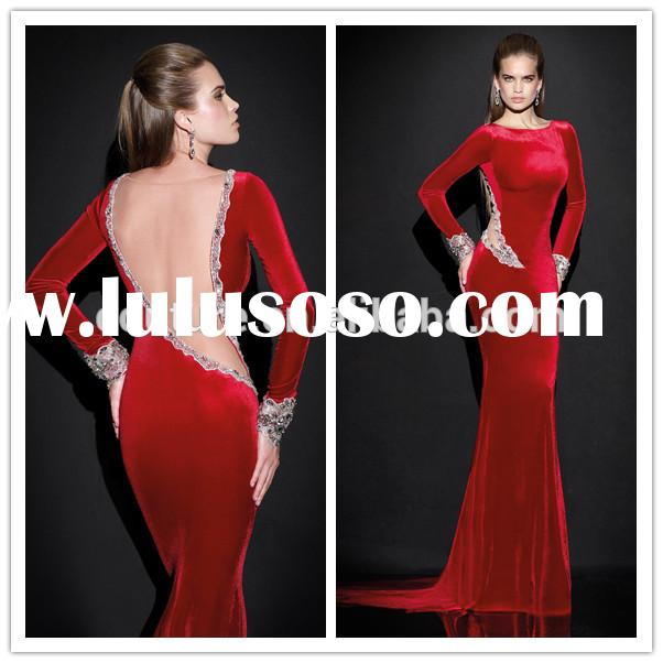 Latest Dress HIgh Neck Long Sleeve Custom Made 2015 Tarik Ediz 92500 Dark Red Evening Party Gowns