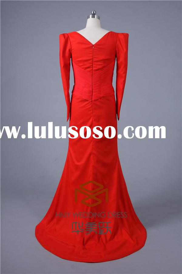 Plus Size SHMY-E0027 Red Satin Ruffle Beaded Long Sleeve Ladies Long Evening Party Wear Gown