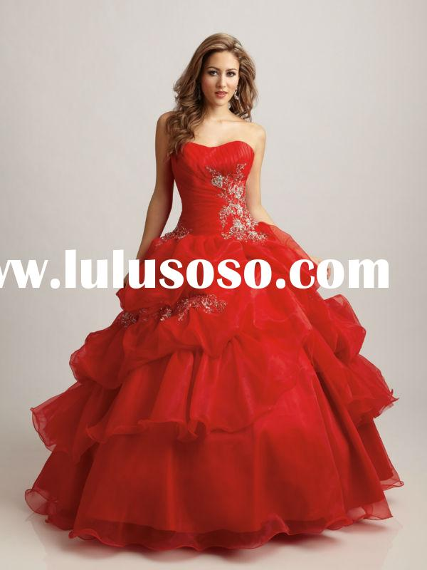Red Amazing Ball Gown Appliqued Organza Strapless Custom Made Wedding Dress Bridal Gown