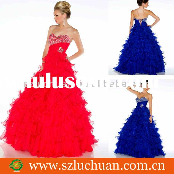 Strapless Sweetheart Beaded Long Red Ball Gown Prom Dresses