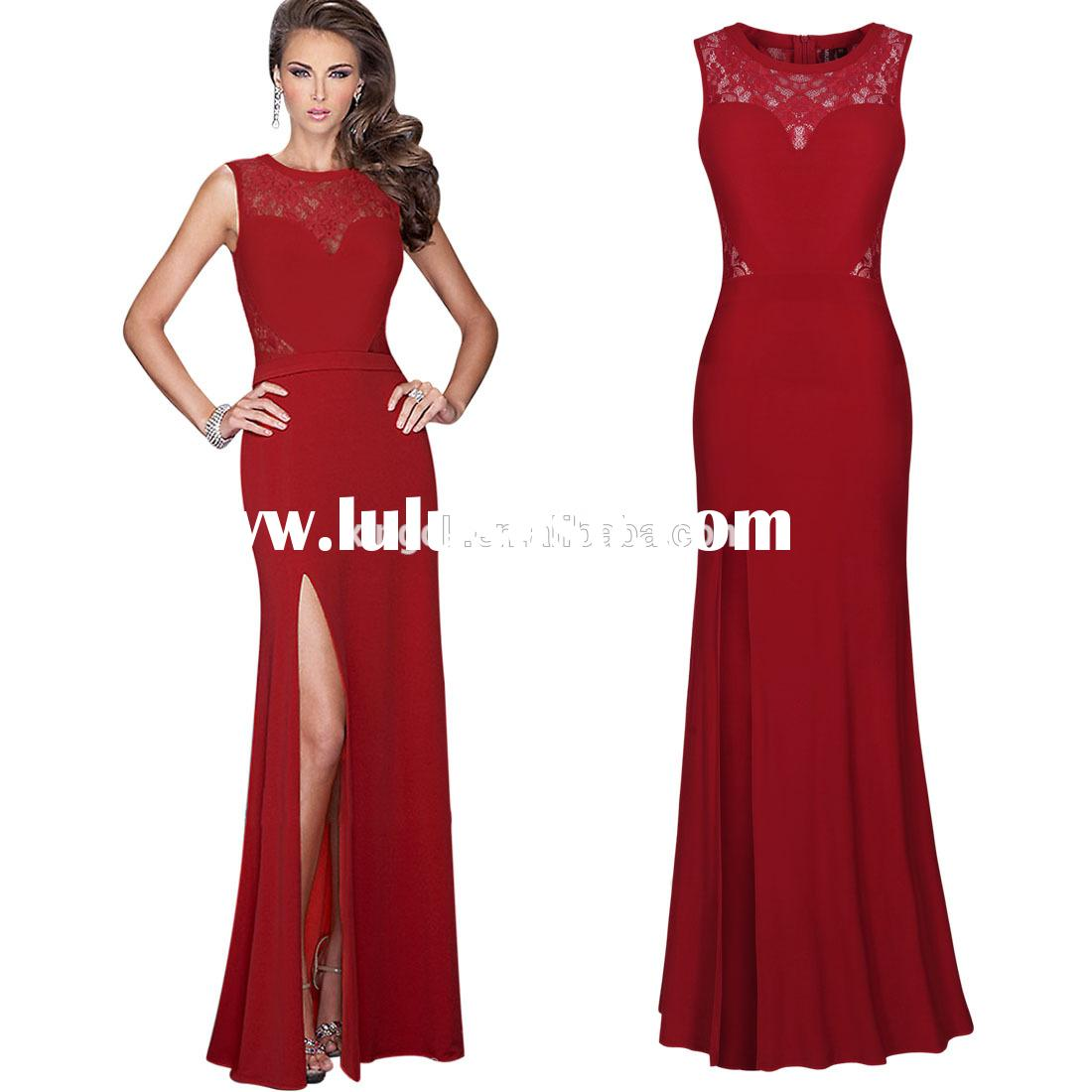 Womens lace Ball Gown Party Formal Evening Wedding red Long Full Dresses