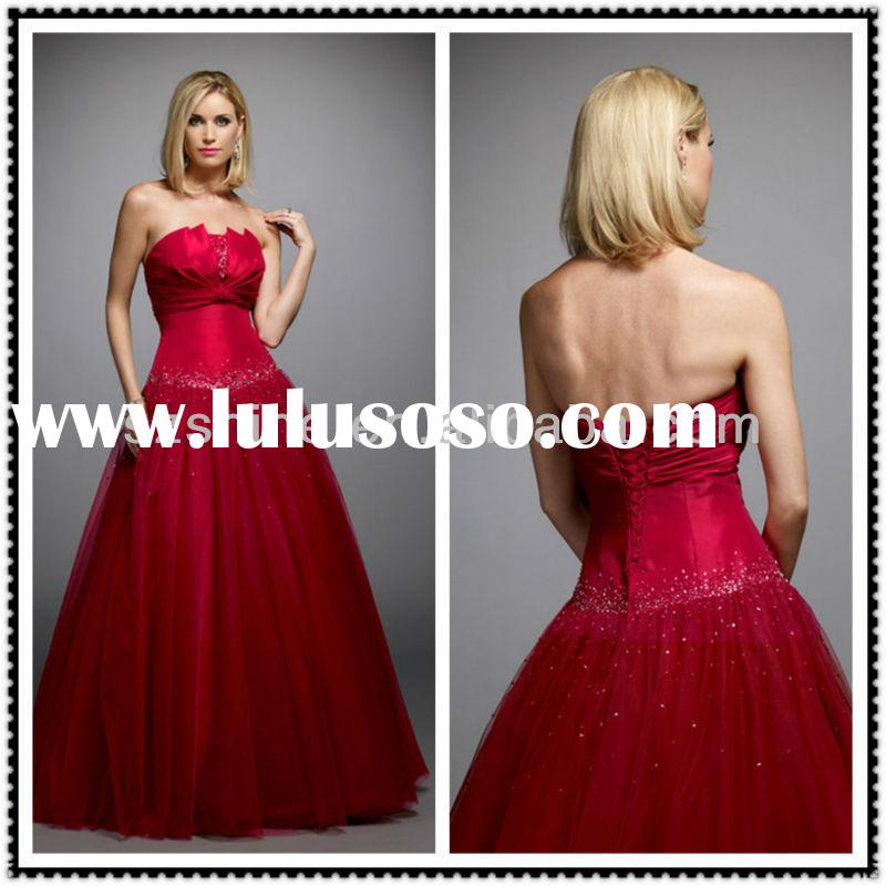 YED10415 Vitange Strapless ball gown floor length pleated satin beaded tulle red and white evening g