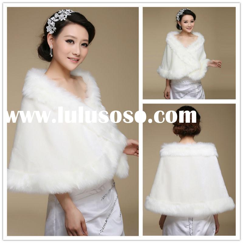 2015 New Arrival Winter Wraps and Shawl Ivory Elegant Bridal Wraps Jacket Faux Fur Shawl (BS002)