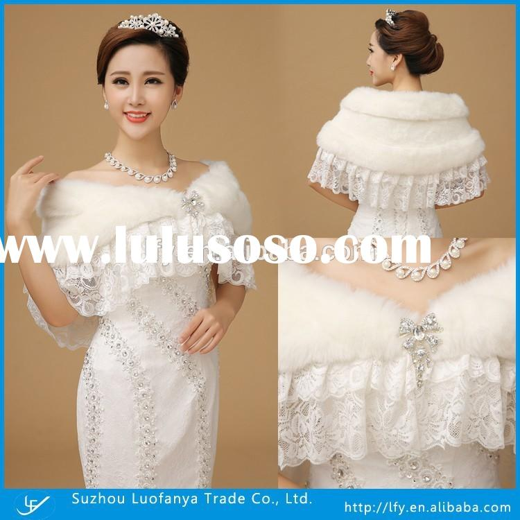 Beautiful Wedding Jackets Faux Fur Jackets Off White Lady Lace Fur Shawls