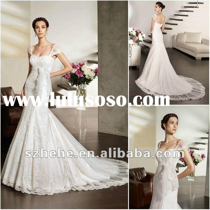 Cheap price Cap sleeve mermaid style tulle tail irish lace wedding dresses