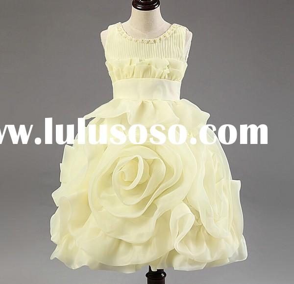 Custom made children formal party dancing dress kids fluffy dresses wholesale