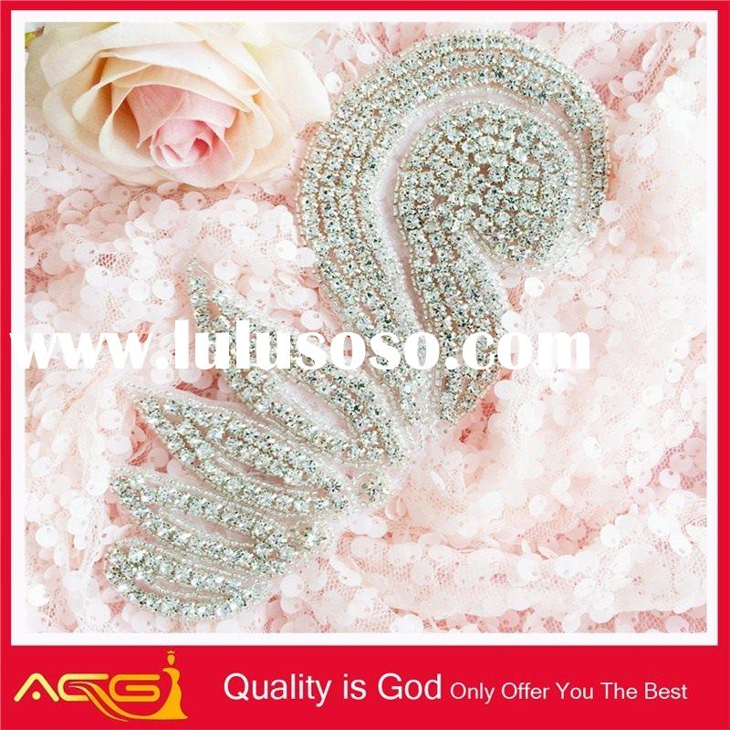 Decorative Real Rhinestone Trim Fashion Hair Sash Wholesale bling neckline embroidery designs free