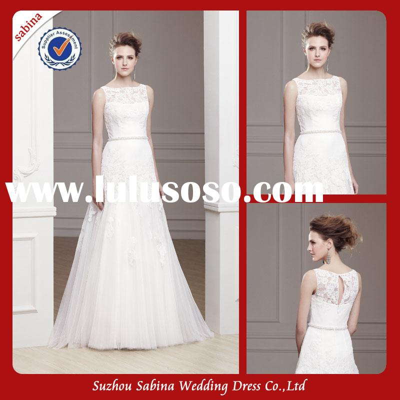 WY0339 Floor Touching Irish Lace Simple Wedding Desses High Neck A Line Cinderella Wedding Dress