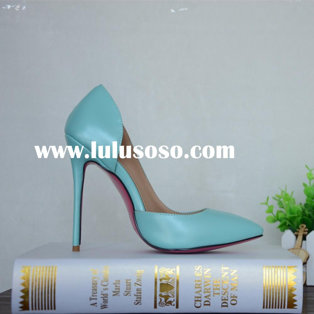designer brand open size blue color cute pink sole fashion shoes 12cm thin heels shoes factory custo