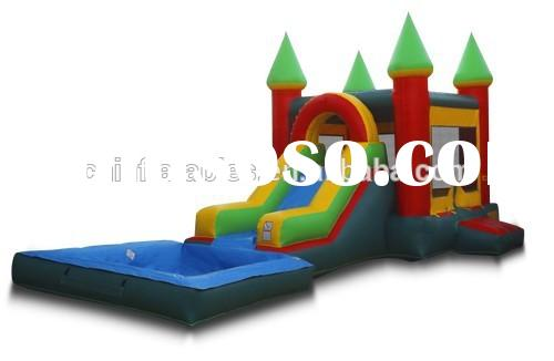 2015 amusement playground inflatable castle kids trampoline slide children's pool with a sli