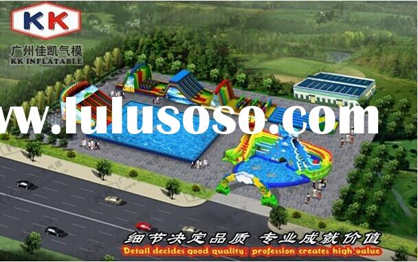 Adult/ kids Giant Inflatable Water Park With Slide Pool Climbing Wall Large Metal Frame Pool/ Above