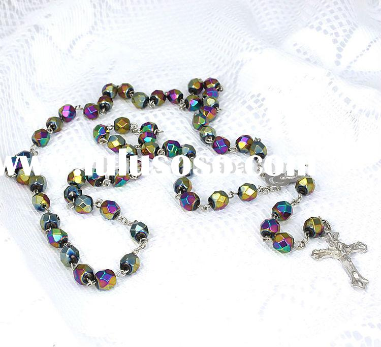 Colourful Sparkling Rosary Crystal Beads Silver Cross Necklace For Women Girl