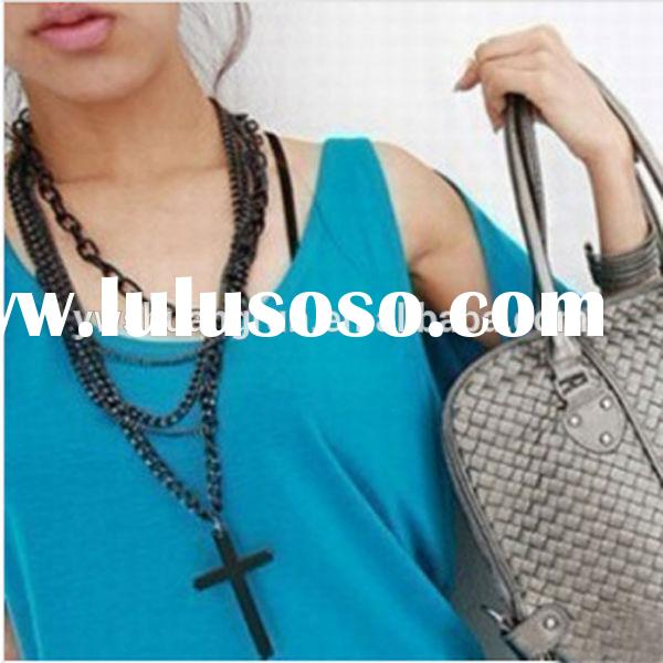 Fashion jewelry alloy gunmetal rosary necklace for women