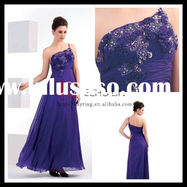Formal Beaded Chiffon girls party cheap wholesale slim evening dress royal blue bridesmaid dresses