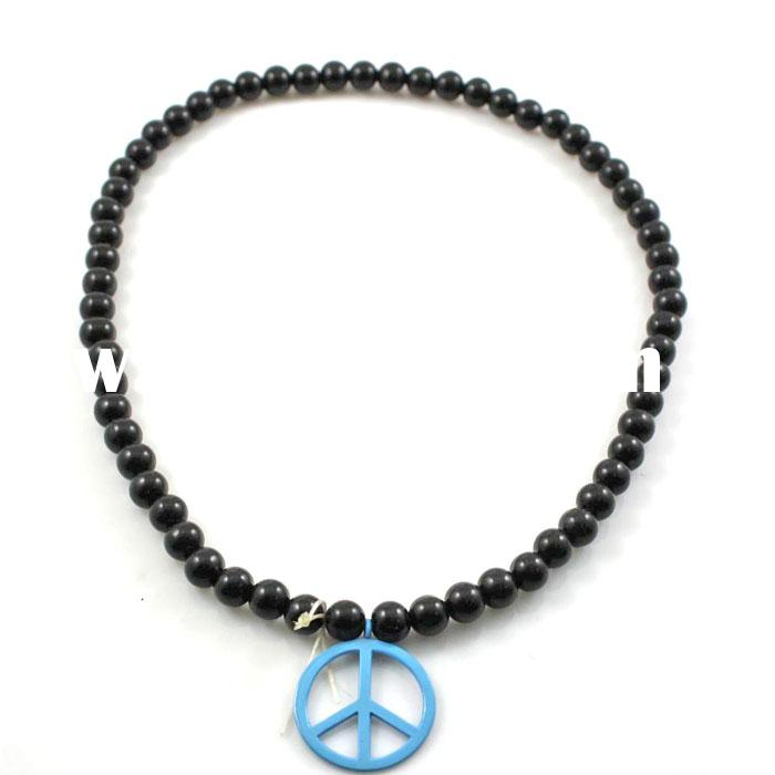 New Products Long Rosary Wooden Beaded Peace Pendant Necklaces For Women