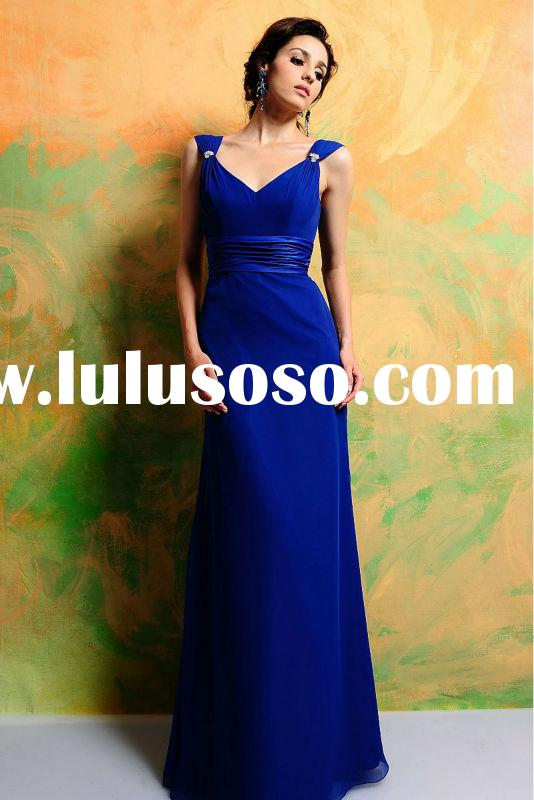 OUMEIYA OBM406 chiffon royal blue cheap bridesmaid dress