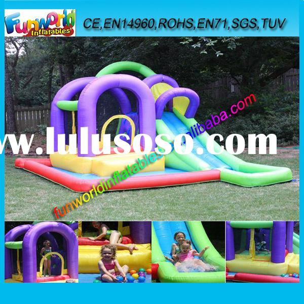 Popular Sales Inflatable Splash Bounce N Slide Kids Used Commercial Water Slides With Splash Pool (F
