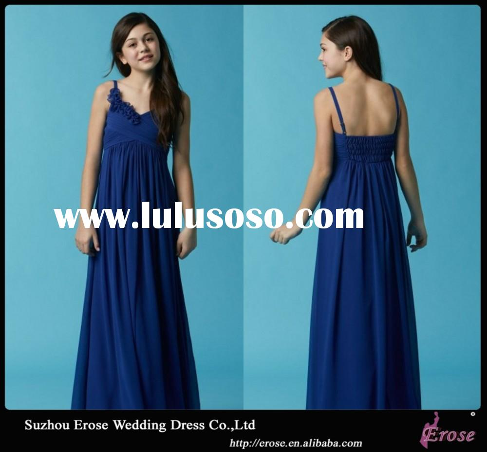 XG065 Royal Blue A Line V Neckline Spaghetti Straps Chiffon Empire Cheap Bridesmaid Dresses
