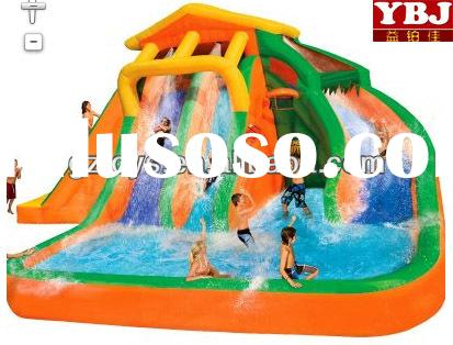 YBJ manufacturer outdoor air slides/giant inflatable kid water slide with pool