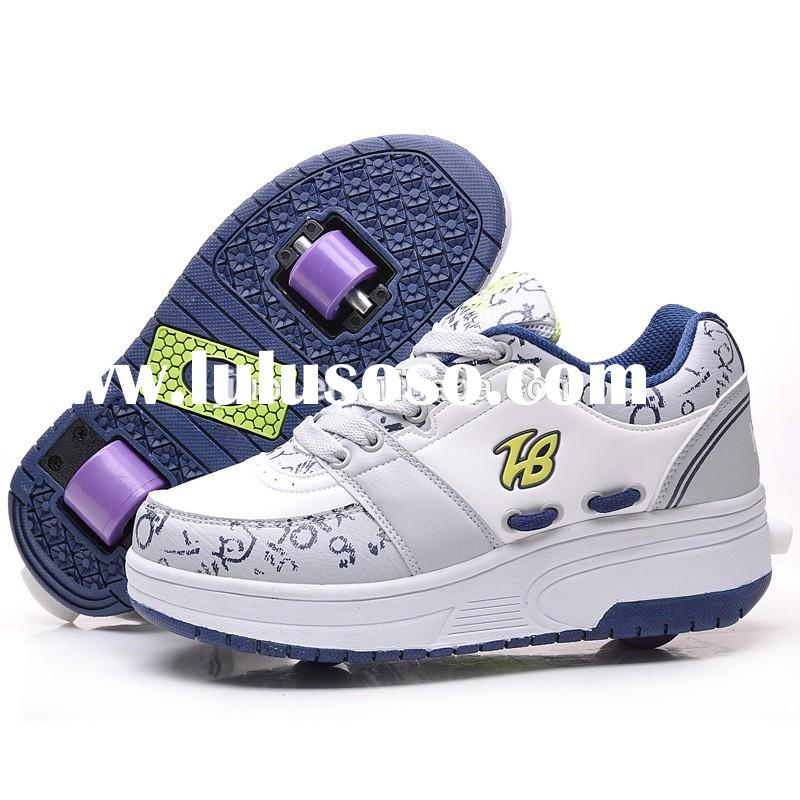 brand sport childrenroller skate shoes sneakers with retractable wheels for boys girls, high quality