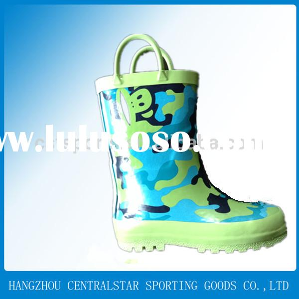 cheap kids/girls Rubber Rain Boots with handle