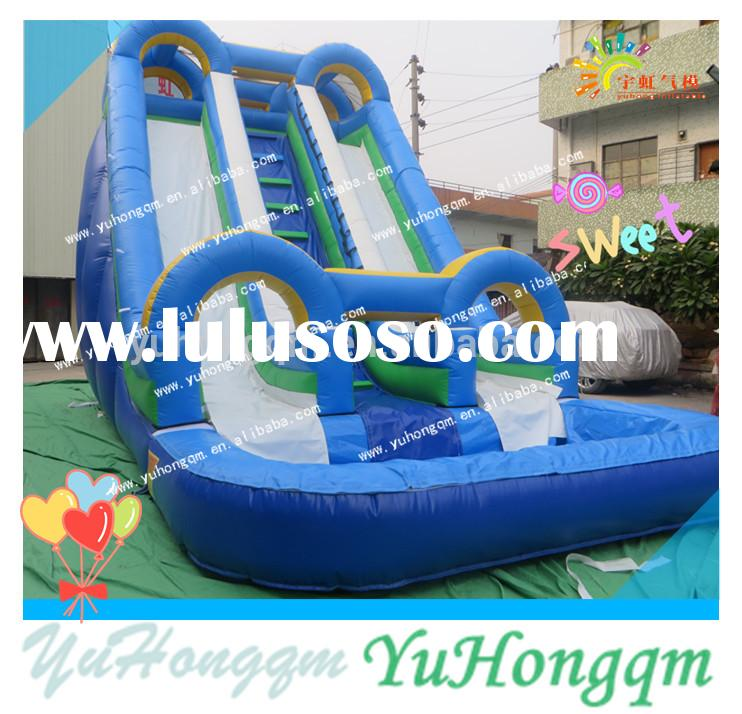 china top quality cheap commercial grade inflatables kids double lanes water slides with a pool for