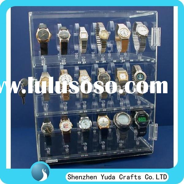 factory direct sale plexiglass display unit, acrylic clear 3 tiers watch display showcase for c clip