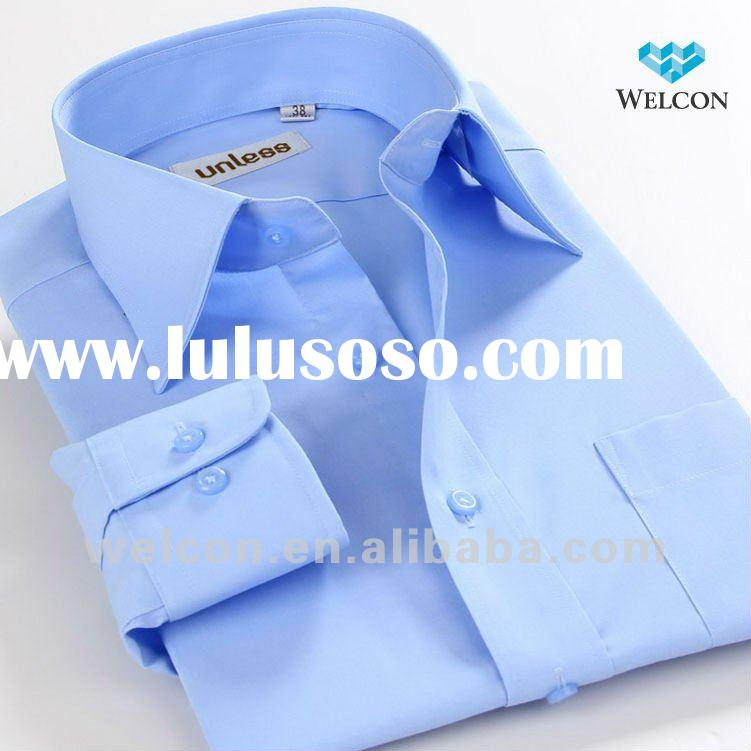long sleeve Italian style latest fashion design business dress wear organic cotton blue men formal s